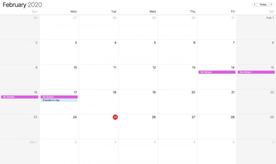 Calendar depicting Presidents' Day Weekend (Photo: Katie Jain)