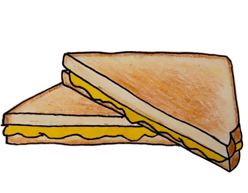 Drawing of the delicious grilled cheese you can make using the recipe attached. (Image/Madeline Chia '21)