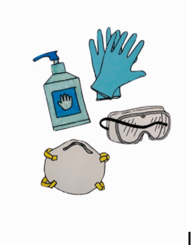 Gloves, hand sanitizer, and masks have become increasingly valuable, and it is essential health workers have access to them. (Drawing/Madeline Chia '21)