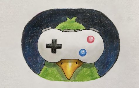 The Game Pigeon Logo, a video game consol over a pigeon's eyes. (Image: Madeline Chia '21)