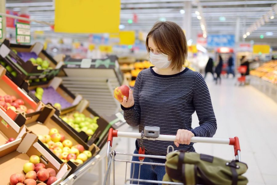 Shoppers+frequently+wear+face+masks+while+buying+the+goods+they+need+in+order+to+prevent+the+spread+of+bacteria.+