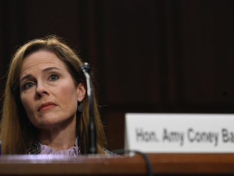 Supreme Court nominee Amy Coney Barrett testifies during her confirmation hearing before the Senate Judiciary Committee on Capitol Hill in Washington, Wednesday, Oct. 14, 2020. (Andrew Caballero-Reynolds via AP)